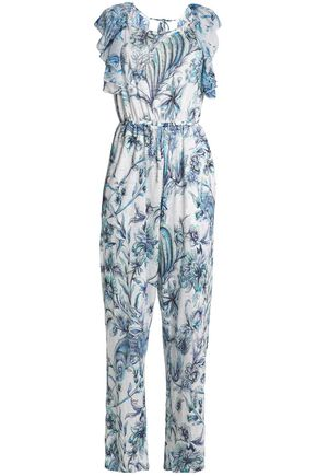 JUST CAVALLI BEACHWEAR Open-back ruffle-trimmed printed linen-blend jumpsuit