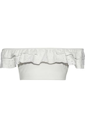 JONATHAN SIMKHAI Embroidered ruffle-trimmed bikini top