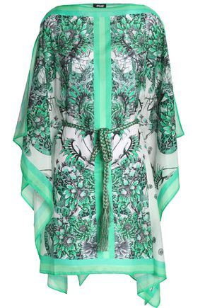 JUST CAVALLI BEACHWEAR Printed cotton and silk-blend coverup