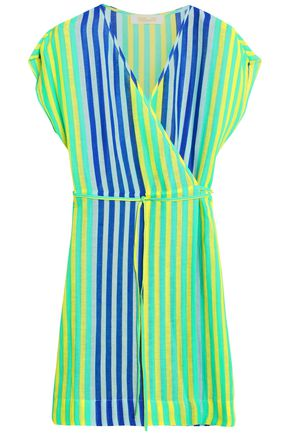 DIANE VON FURSTENBERG Wrap-effect striped linen-blend gauze coverup