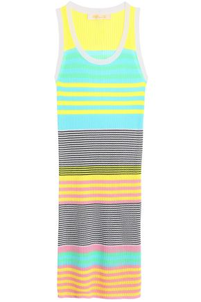 DIANE VON FURSTENBERG Striped ribbed-knit coverup