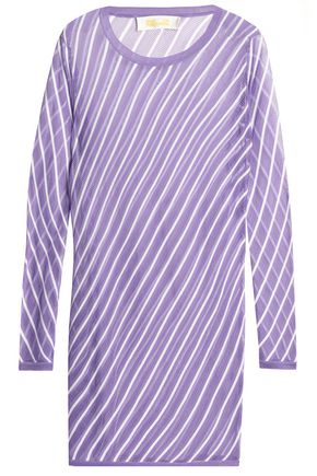 DIANE VON FURSTENBERG Striped pointelle-knit coverup