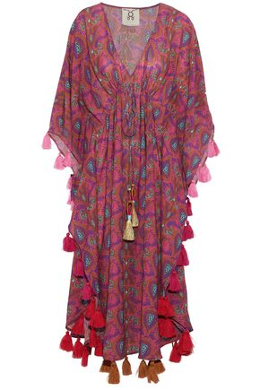 FIGUE Tassel-trimmed printed cotton-blend kaftan