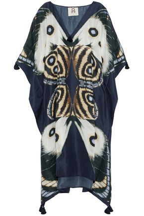FIGUE Tassel-trimmed printed silk kaftan