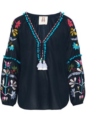 FIGUE Victoria embellished cotton-blend tunic