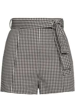 ZIMMERMANN Paradiso tie-front gingham cotton-blend shorts