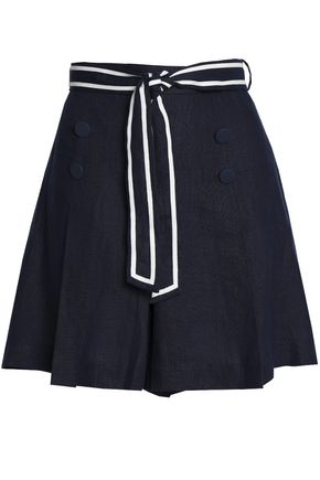 ZIMMERMANN Meridian Sailor tie-front button-embellished linen shorts