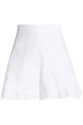 ZIMMERMANN Ruffled broderie anglaise cotton shorts