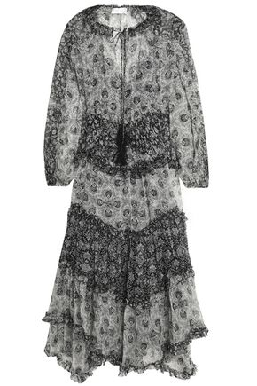 ZIMMERMANN Divinity ruffle-trimmed printed silk-georgette midi dress