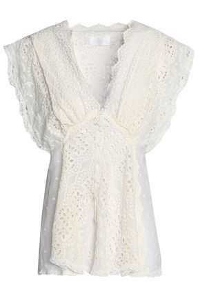 ZIMMERMANN Ruffled broderie anglaise silk and cotton-blend gauze top