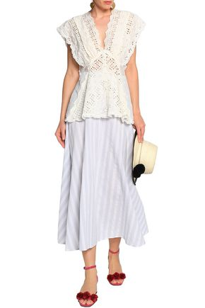 ZIMMERMANN Lace-trimmed broderie anglaise silk and cotton-blend top