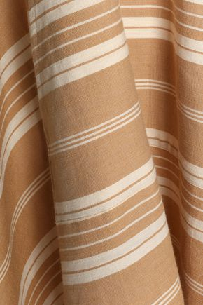 ZIMMERMANN Tulsi Ticking tasseled striped linen and cotton-blend hooded coverup