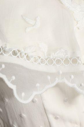 ZIMMERMANN Mercer one-shoulder embroidered silk-chiffon playsuit