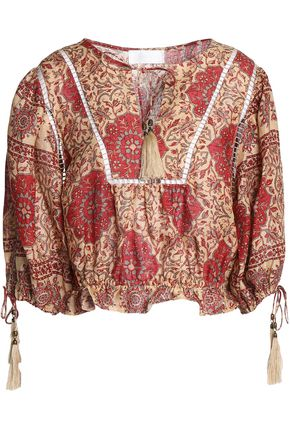 ZIMMERMANN Open knit-trimmed floral-print linen top