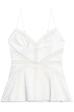 ZIMMERMANN Fluted broderie anglaise cotton peplum top