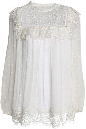 ZIMMERMANN Giupure lace-paneled Swiss-dot silk-georgette blouse
