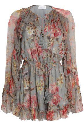 ZIMMERMANN Mercer ruffled floral-print silk-georgette playsuit