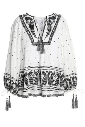 ZIMMERMANN Embroidered Swiss-dot linen blouse
