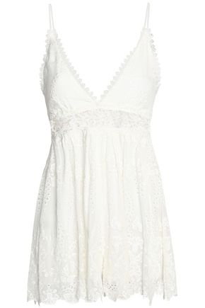ZIMMERMANN Guipure lace-trimmed embroidered silk-gauze playsuit