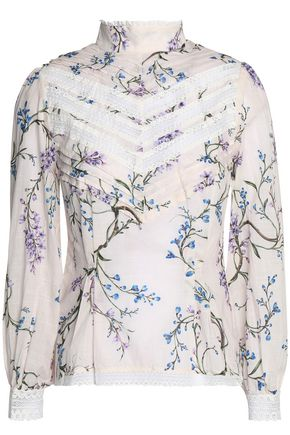 ZIMMERMANN Lace-trimmed floral-print cotton-mousseline blouse