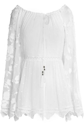 ZIMMERMANN Lattice-trimmed embroidered silk crepe de chine top