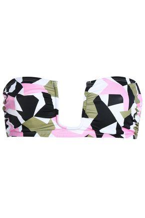 PRISM Ruched printed bandeau bikini top