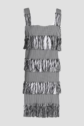 PRISM Nevis fringed striped cotton-twill dress