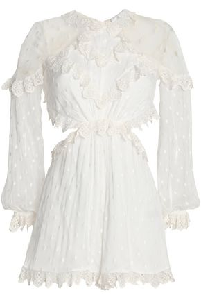 ZIMMERMANN Broderie anglaise-trimmed embroidered silk-gauze playsuit