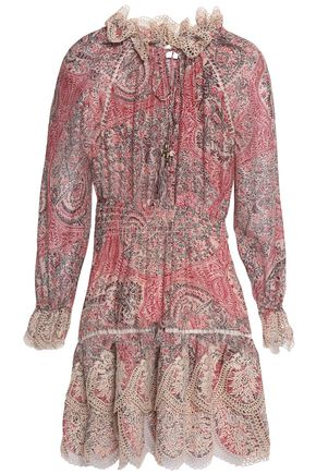 ZIMMERMANN Lace-trimmed printed cotton and silk-blend mini dress