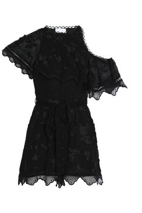 ZIMMERMANN Mercer one-shoulder embroidered silk-chiffon playsuit