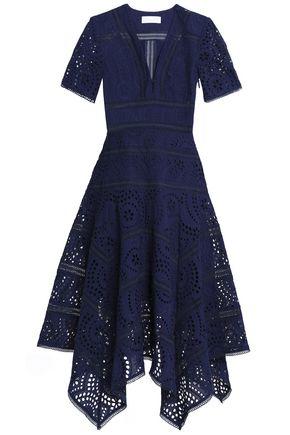 ZIMMERMANN Paradiso asymmetric broderie anglaise cotton midi dress