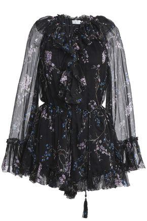 ZIMMERMANN Ruffle-trimmed floral-print silk-georgette playsuit