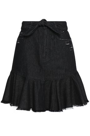ZIMMERMANN Belted frayed denim mini skirt