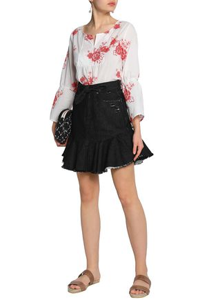 ZIMMERMANN Belted frayed denim mini skirt