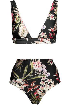 ZIMMERMANN Floral-print high-rise bikini