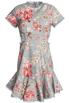 ZIMMERMANN Fluted lattice-paneled floral-print linen and cotton-blend mini dress