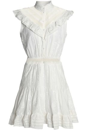 ZIMMERMANN Crochet-trimmed embroidered cotton-gauze mini dress