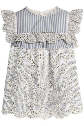 ZIMMERMANN Meridian striped broderie anglaise cotton blouse