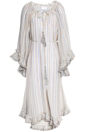 ZIMMERMANN Gathered ruffle-trimmed striped linen and cotton-blend midi dress