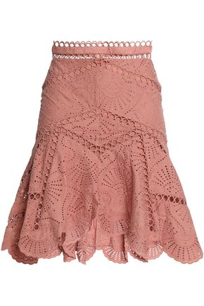 ZIMMERMANN Fluted broderie anglaise cotton skirt