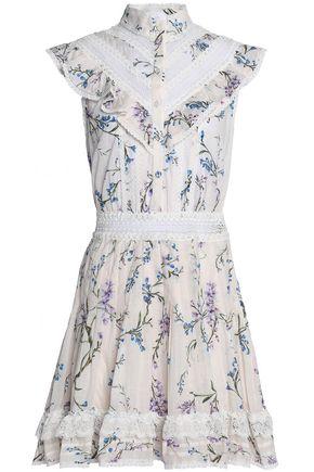 ZIMMERMANN Crochet-trimmed floral-print cotton-gauze mini dress