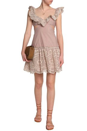 ZIMMERMANN Cutout broderie anglaise striped cotton mini dress
