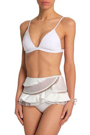 ZIMMERMANN Point d'esprit-paneled ruffled high-rise bikini briefs