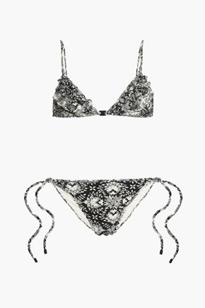 ZIMMERMANN Ruffled mesh-trimmed printed triangle bikini