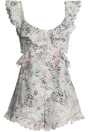 ZIMMERMANN Jasper cutout floral-print broderie anglaise cotton playsuit