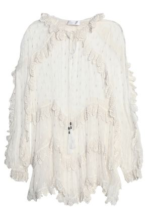 ZIMMERMANN Broderie anglaise-trimmed embroidered silk-georgette tunic