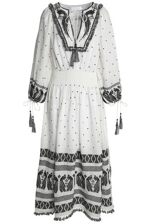 ZIMMERMANN Tasseled embroidered linen-gauze midi dress