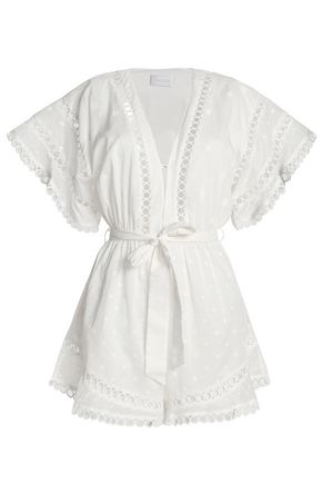 ZIMMERMANN Belted polka-dot cotton-gauze playsuit