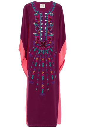 FIGUE Embellished silk crepe de chine kaftan