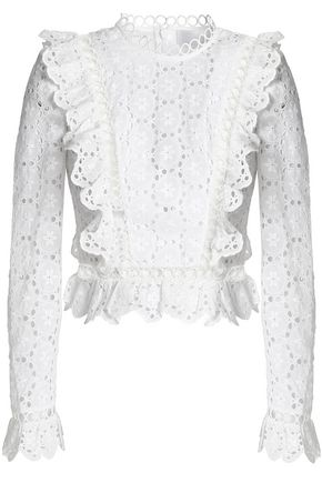 ZIMMERMANN Ruffled broderie anglaise cotton top